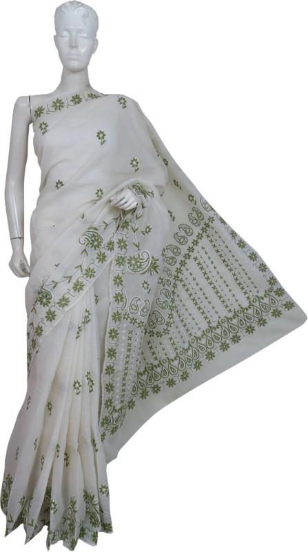 Ada Embroidered Lucknow Chikankari Handloom Cotton Saree(Cream)