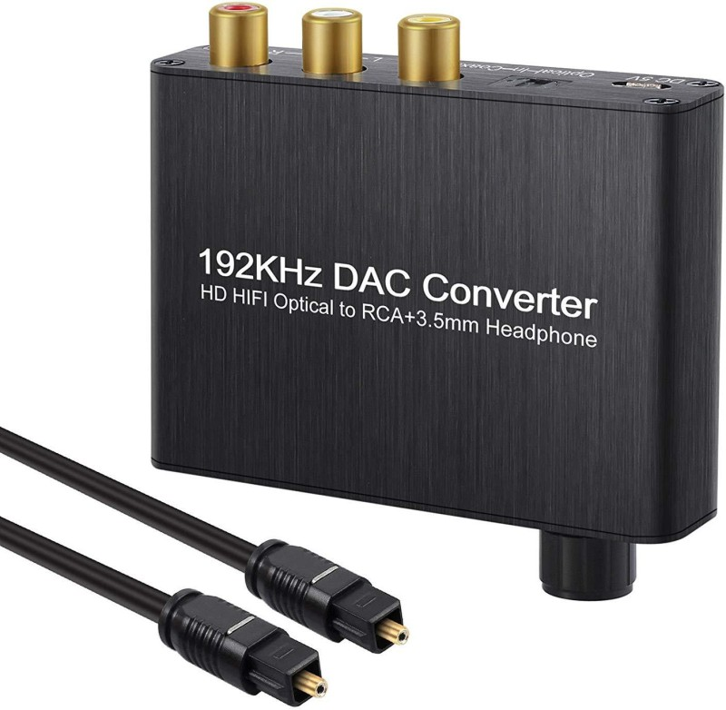 Microware 5.1ch Digital Audio Decoder Optical Coaxial Toslink to Analog AC-3/DTS Converter 3.5mm Output with Optical Cable Media Streaming Device(Black)