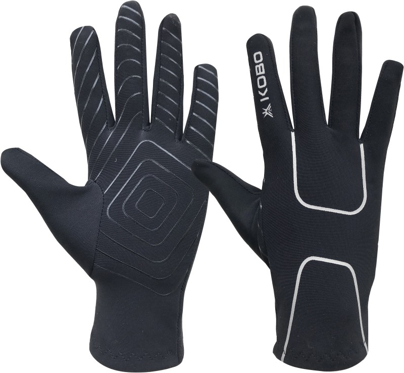 Kobo Fleece with Silicon Grip Running Gloves (L, Black)