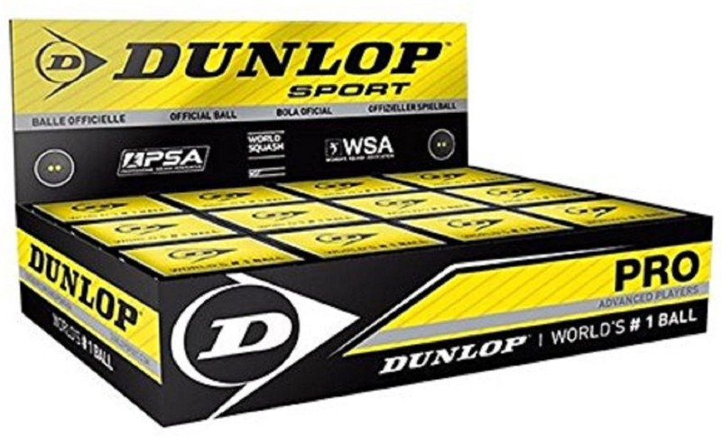 dunlop Pro Double Dot Rubber Squash Ball, Pack of 12 (Black) Squash Ball(Pack of 3, Black)