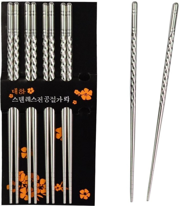 BEAUT Eating Stainless Steel Chinese, Japanese, Korean, Vietnamese Chopstick(Silver Pack of 10)