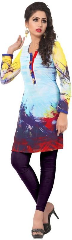 Venisa Festive & Party Printed Women's Kurti(Blue)