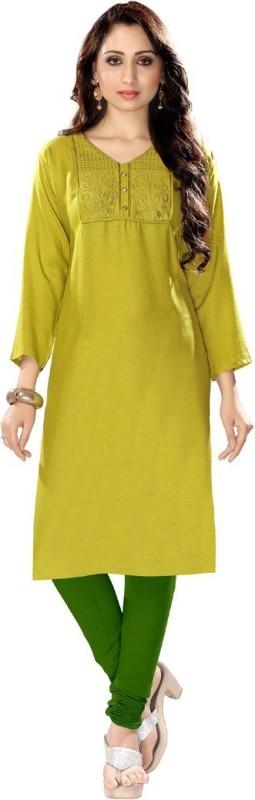 Venisa Festive & Party Embellished Women's Kurti(Yellow)