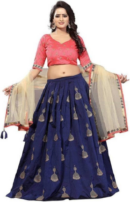 Ross And Rack Embroidered Semi Stitched Lehenga, Choli and Dupatta Set(Blue)