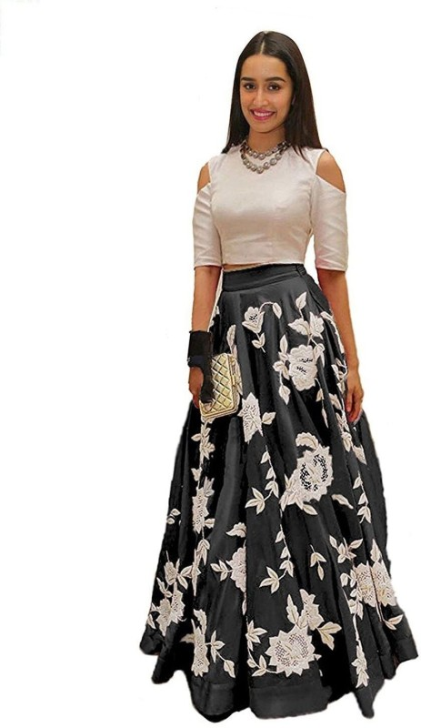 Ross And Rack Embroidered Semi Stitched Lehenga Choli(Black, Beige)