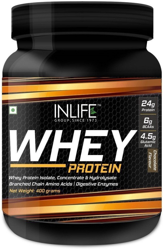 Inlife Whey Protein Powder with Isolate Concentrate Hydrolysate 24 grams protein Body Building Supplement Whey Protein(400 g, Chocolate)