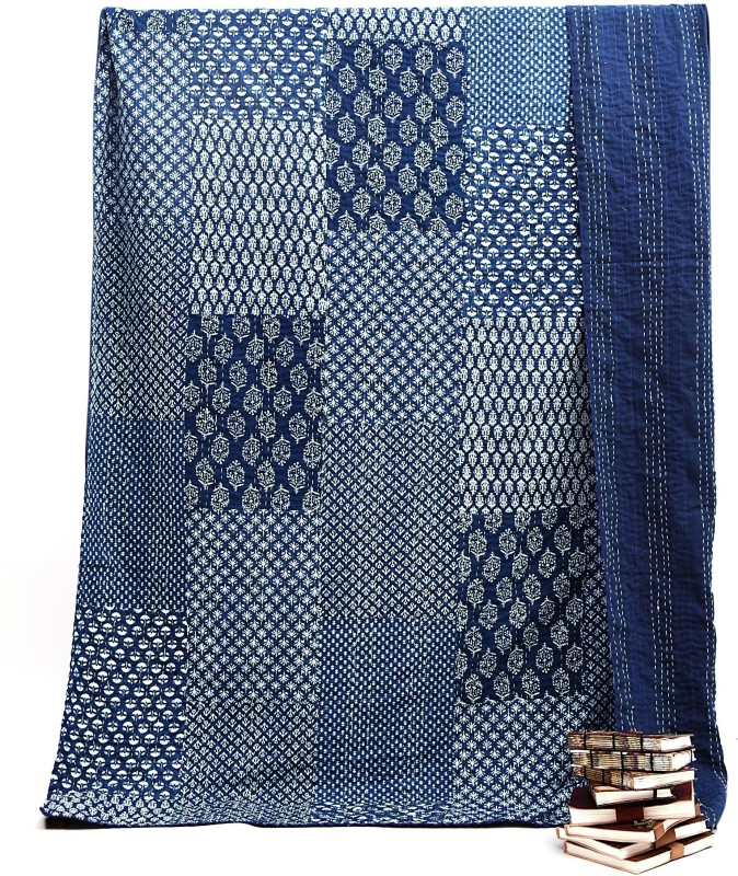 Handicraft-Palace KQLT-1 Patchwork Kantha Quilt Throw Cotton Bed Cover Jaipuri Indigo Blue Gudri Cotton Batting(90 inch x 108 inch)