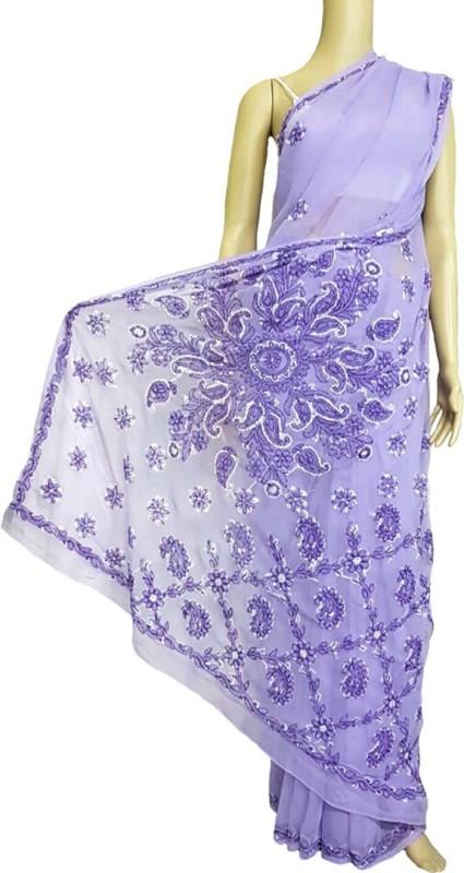 nazya creations Embroidered Lucknow Chikankari Georgette Saree(Purple)