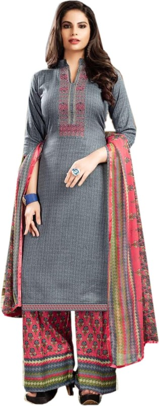 BKRKJ Cotton Silk Blend Embroidered Salwar Suit Material, Suit Fabric, Dress/Top Material,...