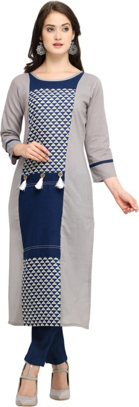 Saara Women Geometric Print, Printed Straight Kurta(Grey, Blue)