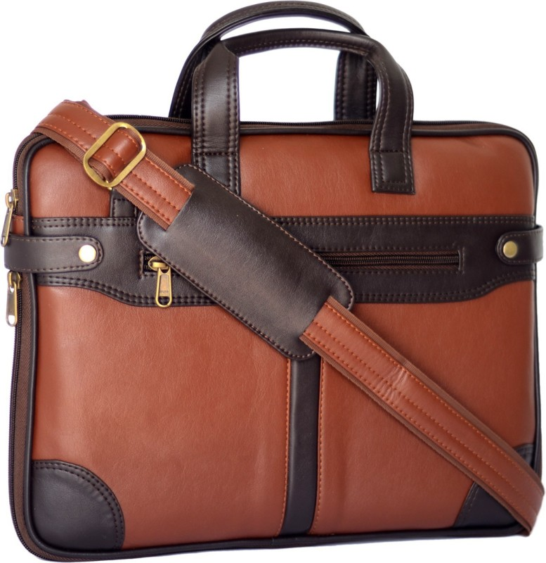 AirLeather 15.6 inch Expandable Laptop Messenger Bag(Brown)