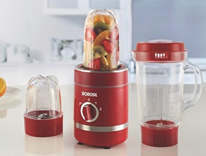Borosil NUTRIFRESH Smoothie Maker RED (W) 400 W Juicer Mixer Grinder(Red, 3 Jars)