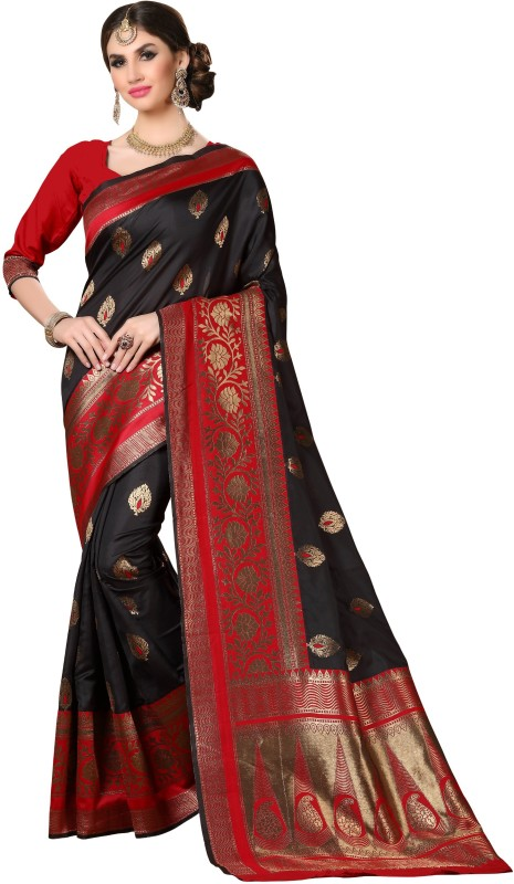 Rola Trendz Self Design Kanjivaram Banarasi Silk, Art Silk, Jacquard Saree(Black, Red)