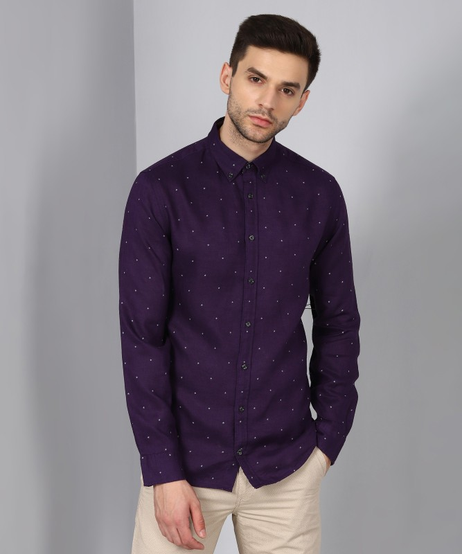Tommy Hilfiger Men Printed Party Purple Shirt