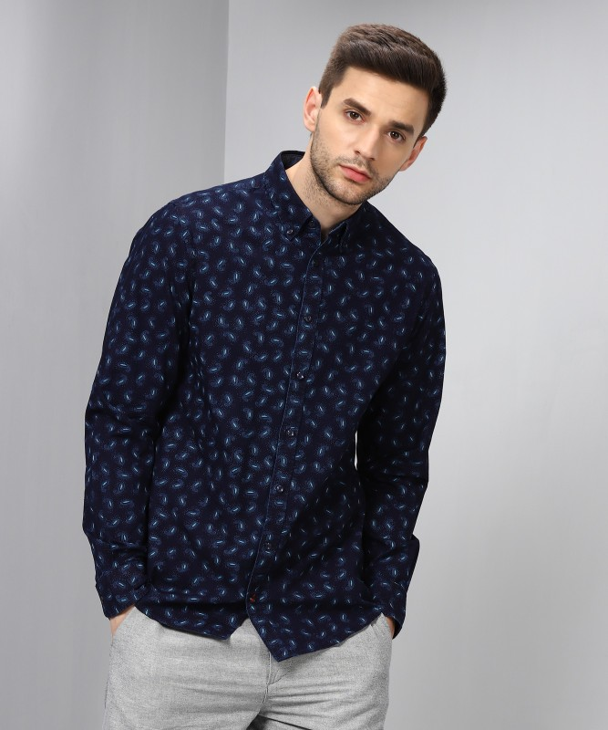 Tommy Hilfiger Men Printed Casual White, Dark Blue Shirt