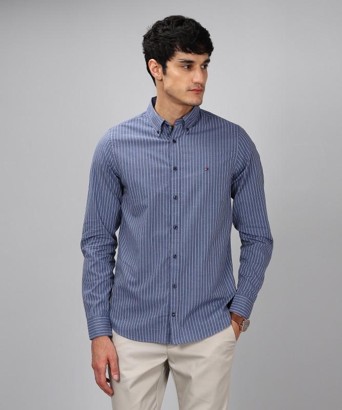 Tommy Hilfiger Men Striped Casual Blue Shirt