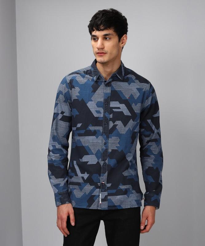 Tommy Hilfiger Men Graphic Print Casual Blue Shirt
