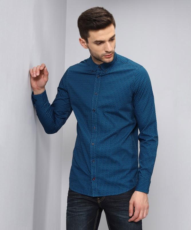 Tommy Hilfiger Men Printed Casual Blue, Black Shirt