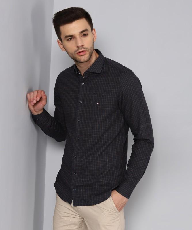 Tommy Hilfiger Men Checkered Formal Blue, Brown Shirt