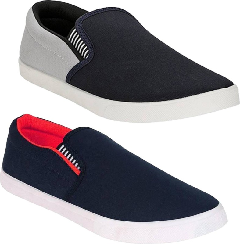 A-CLASS Combo Fitman Grey & Red Loafers For Men(Multicolor)
