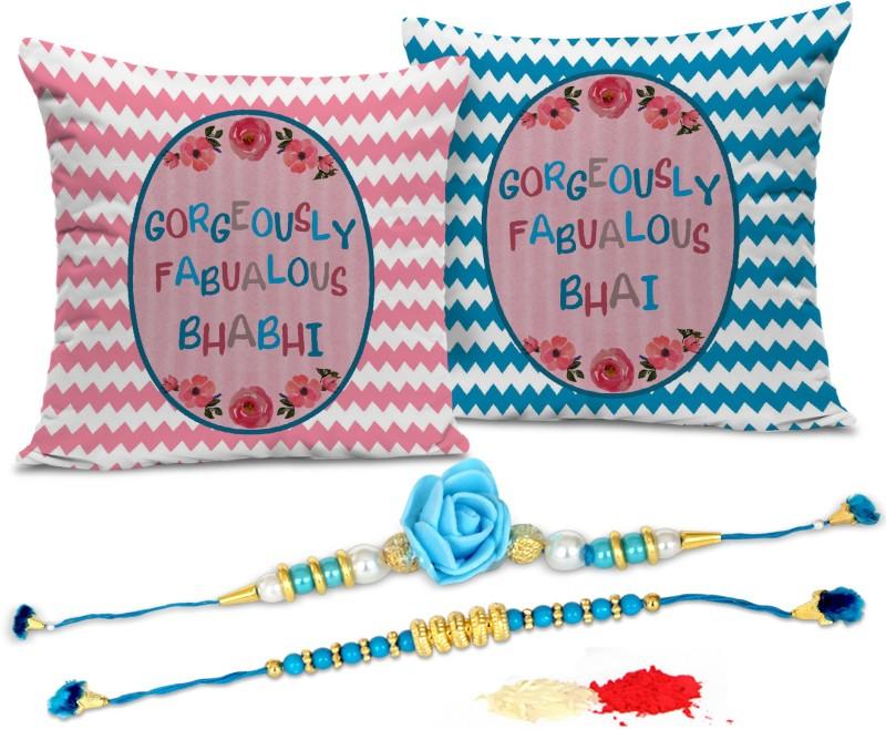 Tied Ribbons Lumba Rakhi Set(Bhaiya Bhabhi Lumba Rakhi Set, 2 Printed Cushion with Inner Filler, 1 Roli Chawal Pack)