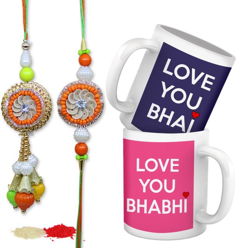 Tied Ribbons Lumba Rakhi Set(Bhaiya Bhabhi Lumba Rakhi Set, 2 Printed Coffee Mug, 1 Roli Chawal Pack)