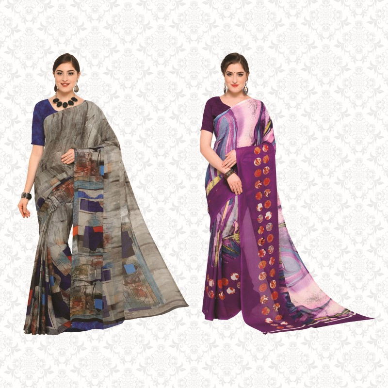 Divastri Printed Daily Wear Georgette Saree(Pack of 2, Multicolor)