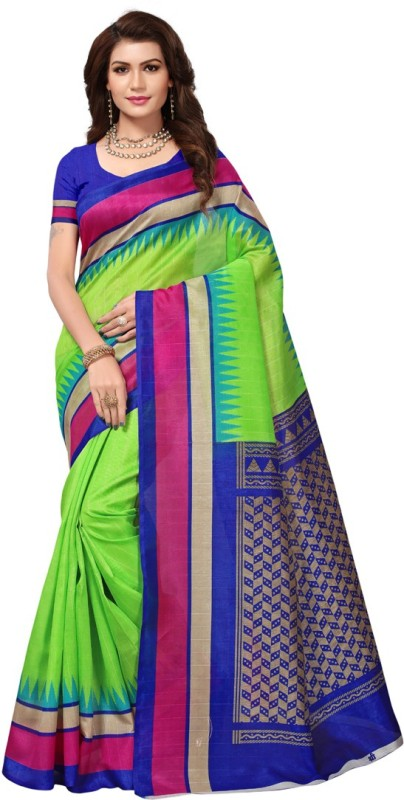 HITESH ENTERPRISE Printed Bhagalpuri Art Silk Saree(Green)