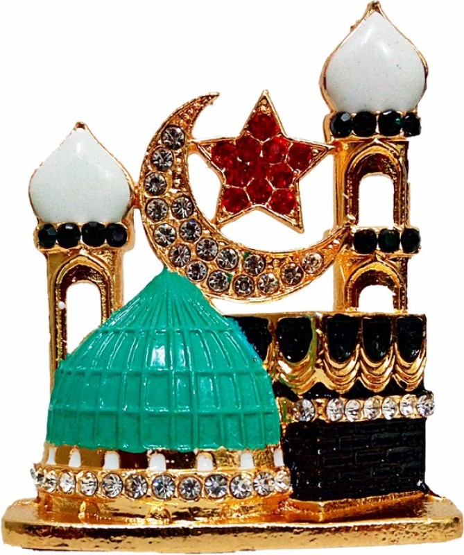 FABZONE Gold Plated With Stone Allah Sign Handicraft Statue Car Dashboard Idol & Decorative Spritual Vastu - Muslim Religious Ibadat Gift Item / Home Decor / Office / Study Table Decorative Showpiece - 8 cm(Brass, Multicolor)