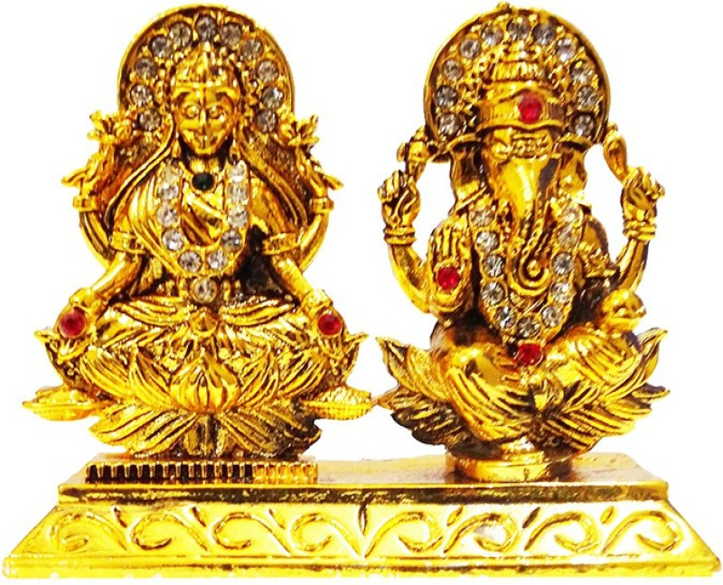 FABZONE Gold Plated With Stone Lord Laxmi Ganesha Car Dashboard Statue Goddess Laxmi & God Ganesh Idol Spiritual Puja Vastu Figurine - Religious Murti Pooja Gift Item / Home Décor / office Decorative Showpiece - 6 cm(Brass, Gold)