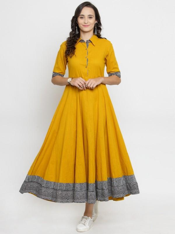 Varanga Women's Fit and Flare Yellow Dress