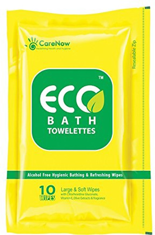 ECO bath Towelettes Large Ziplock Pack - 3 packs X 10 wipes = 30 wipes(Pack of 30)