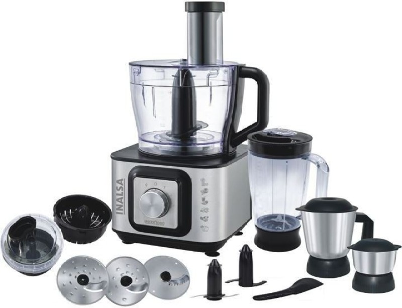 Inalsa Inox 1000 1000 W Food Processor(Silver:Black)