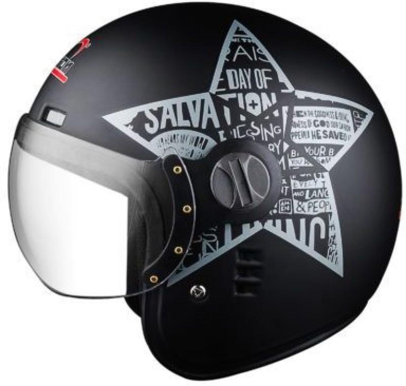 aaron Classic Blessing Star Motorbike Helmet(Matt Black Silver)