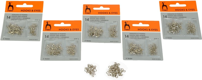 pony Blouse Hook & Eyes, Size No 3, Pack of 5 Cards, Total 70 Hooks & Eyes Hook Eye(Pack of 70)