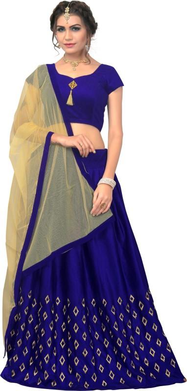 Omstar Fashion Printed Semi Stitched Lehenga, Choli and Dupatta Set(Blue, Beige)