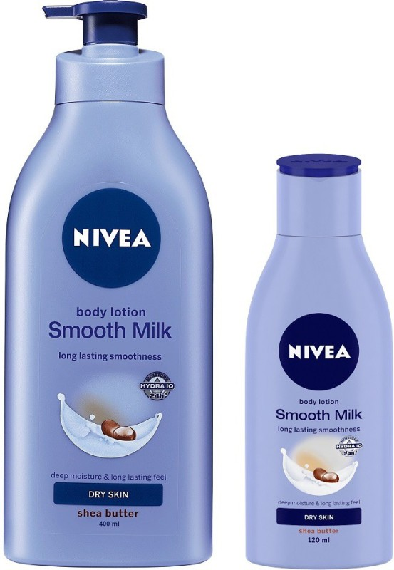 Nivea Smooth Milk With Shea Butter Body Lotion 400 ml &120 ml Combo(520 ml)