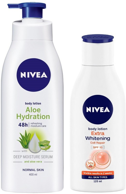 Nivea Aloe Body Lotion 400 ml & Extra Whitening SPF 15 lotion 120 ml combo(520 ml)