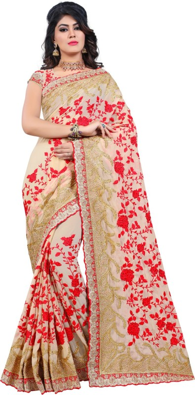 Odhni Embroidered Bollywood Georgette Saree(Beige)