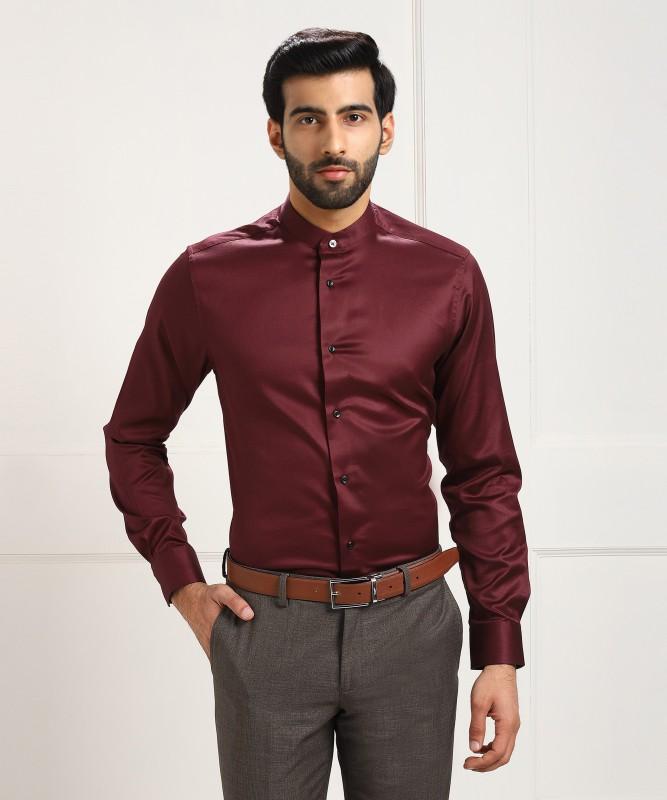 Blackberrys Men's Solid Formal Maroon Shirt