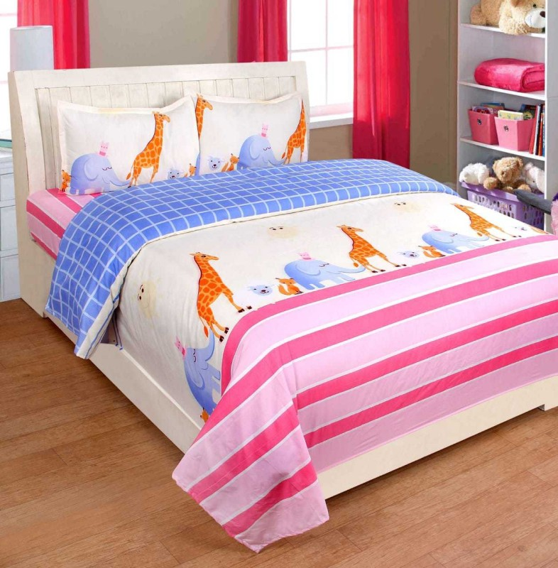 The Intellect Bazaar 160 TC Polyester Double 3D Printed Bedsheet(Pack of 1, Pink)