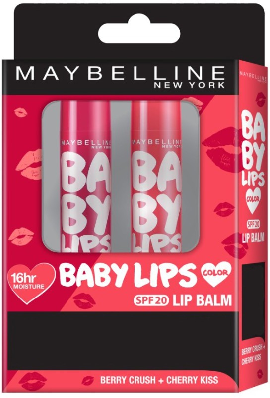 Maybelline New York Baby Lips (Berry Crush+Cherry Kiss) Fruity(Pack of: 2, 8 g)