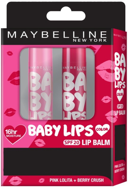 Maybelline New York Baby Lips (Pink Lolita+Berry Crush) Fruity(Pack of: 2, 8 g)