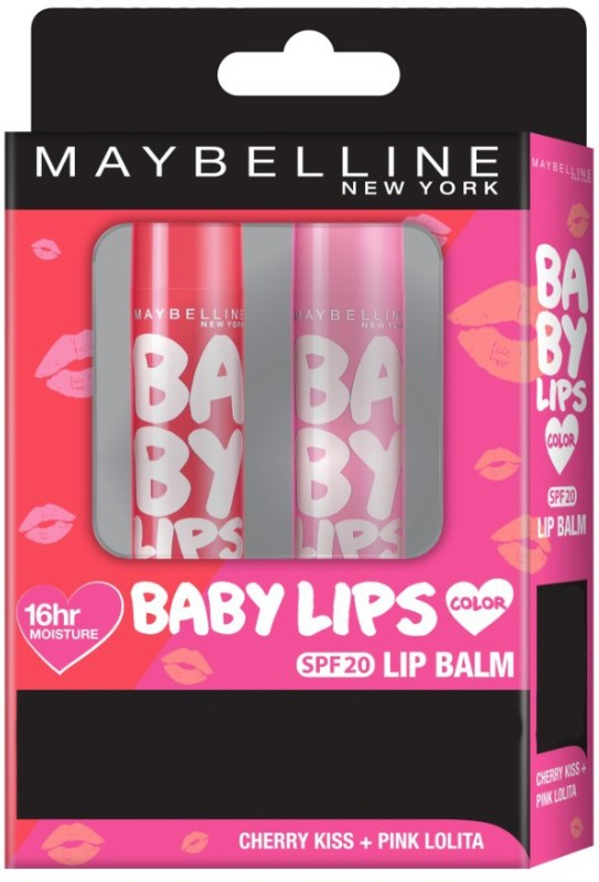 Maybelline New York Baby Lips (Cherry Kiss+Pink Lolita) Fruity(Pack of: 2, 8 g)