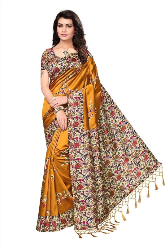 Ratnavati Printed, Self Design, Striped Mysore Art Silk Saree(Mustard)