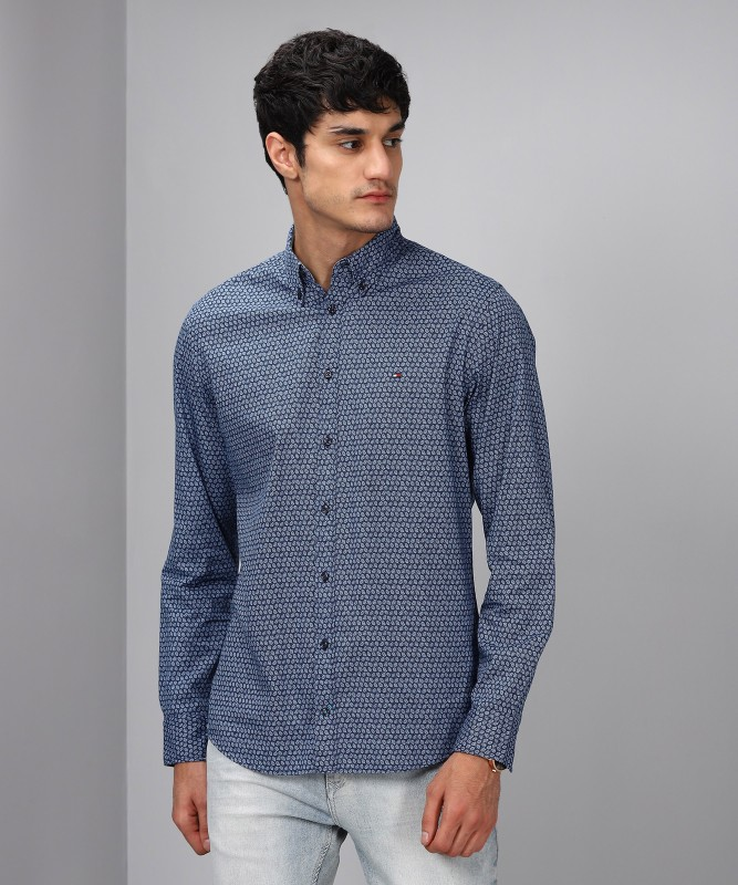 Tommy Hilfiger Men Printed Casual Blue Shirt