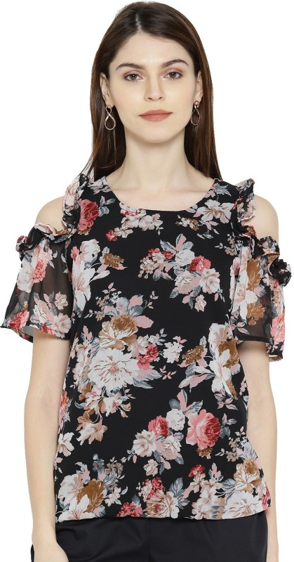 Zoae Casual Half Sleeve Floral Print Women's Multicolor Top