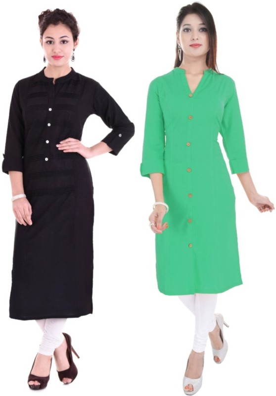 Febia Women Solid Straight Kurta(Green, Black)