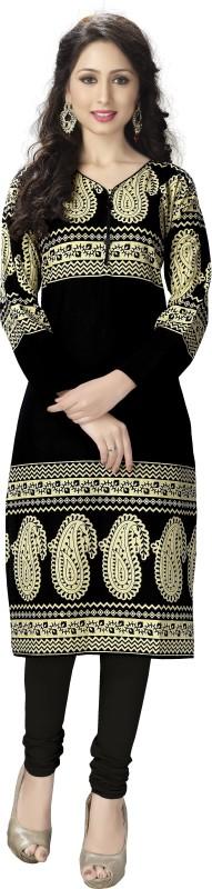 Venisa Festive & Party Embroidered Women's Kurti(Black)