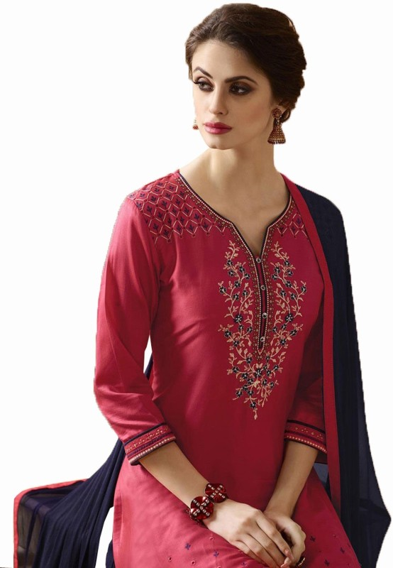 Nirjas Designer Cotton Embroidered Semi-stitched Salwar Suit Dupatta Material